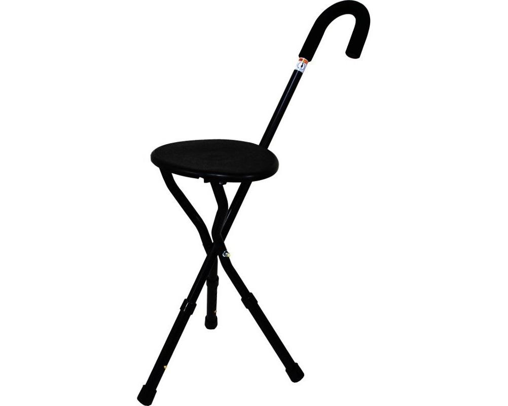 Bengala com assento em alumínio (preta) - Bengalas - Mobilidade