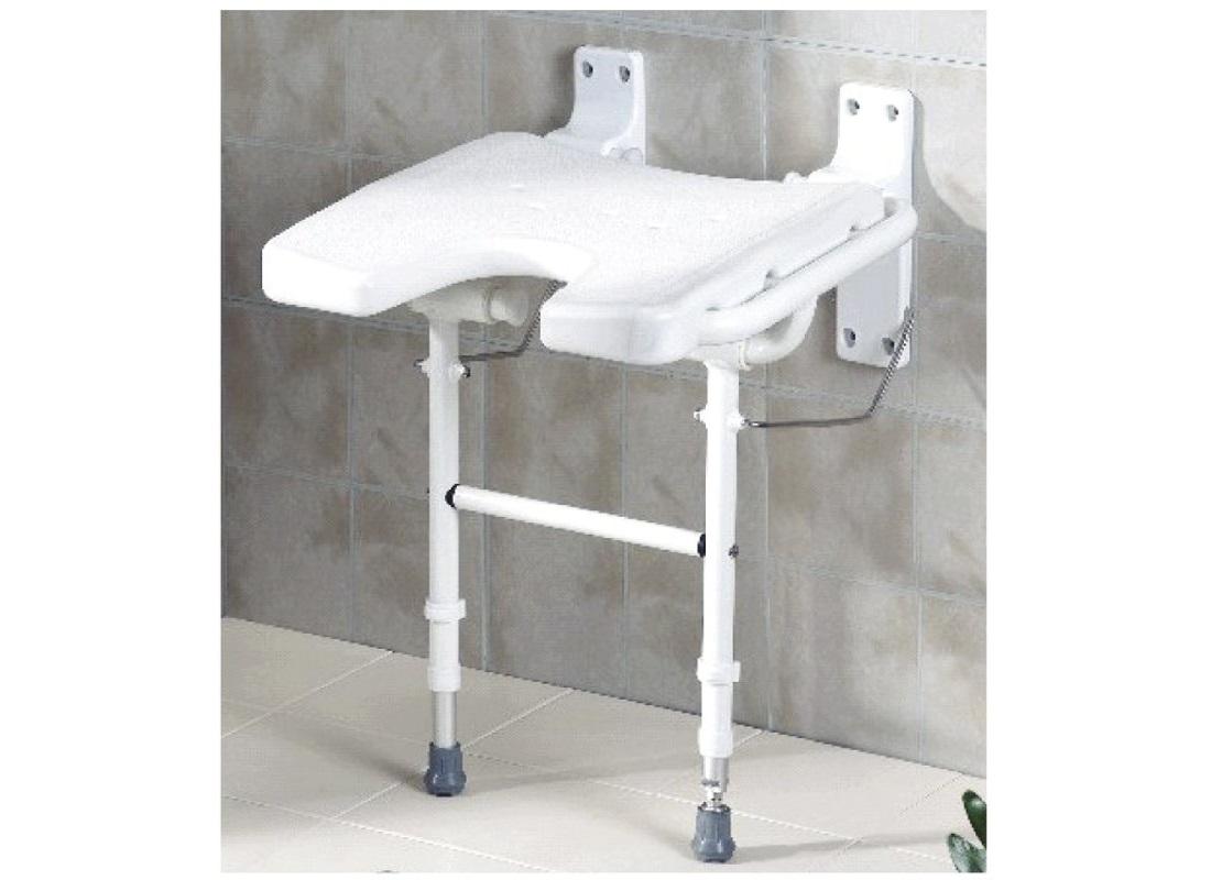 Assento de parede dobrável tipo U com pernas - Ajudas Técnicas - Banho