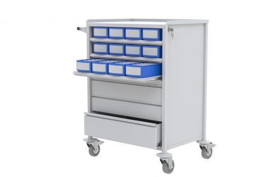 Carro de medicação com 3 gavetas e 3 bandejas - Medicação Unidose / Blisters de Medicação