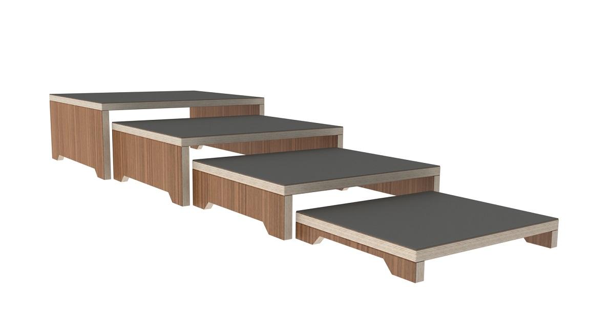 Conjunto de degraus em madeira - Fisioterapia - Reabilitação